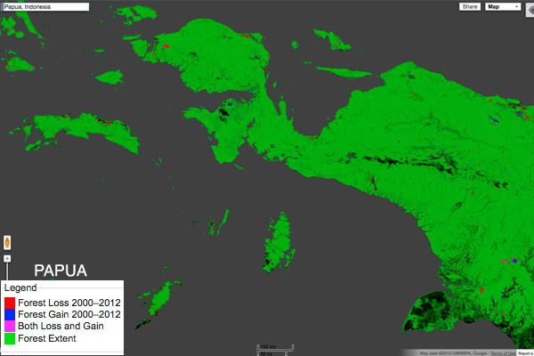 Map: historical forest loss in Sulawesi