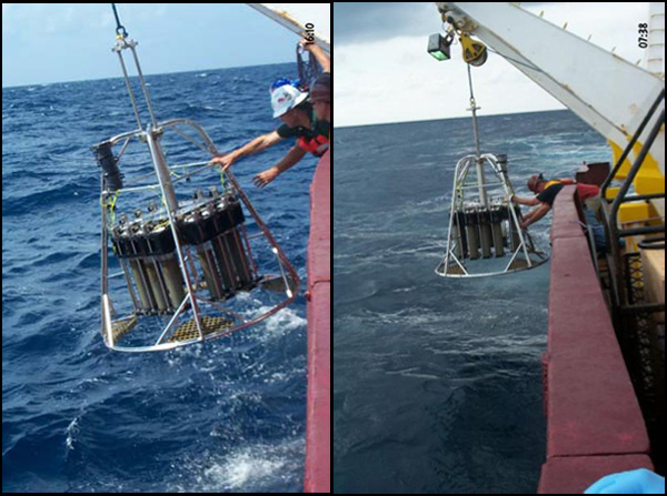 Sample Cylinders into Gulf - Multicorer sampling operation in Gulf of Mexico on the RV Gyre.