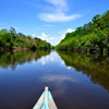 Canoe on one of the tributaries of the Amazon river
