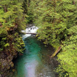 Blue water of Graves Creek in Washington State