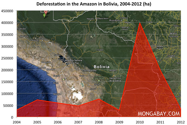 Chart: Deforestation in the Amazon in Bolivia