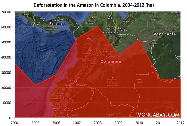 Chart: Deforestation in the Amazon in Colombia