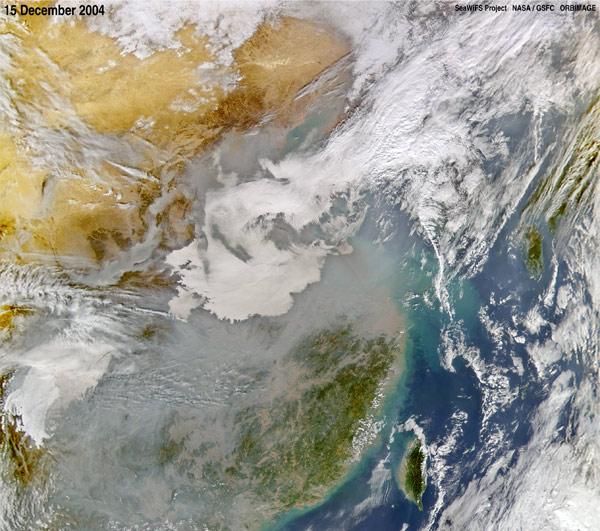 NASA image showing air pollution over China