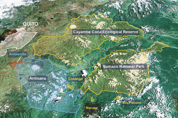 Map showing Antisanilla, Antisana, and the surrounding region