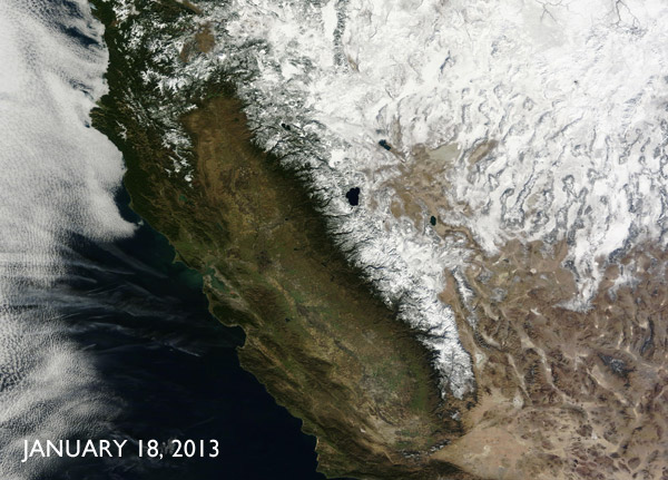 Satellite image of California drought in 2013
