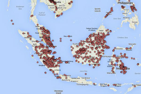 GloF-DAS forest disturbance hotspots in Indonesia-Malaysia.