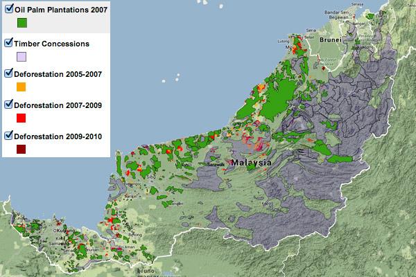 Map showing Land use in Sarawak