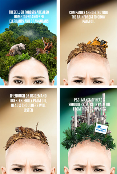 Greenpeace campaign against Head and Shoulders maker Procter & Gamble (P&G)