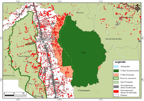 Red shows deforestation. Pink shows the zone of protected area that has had its status removed. Green shows the remaining protected area.