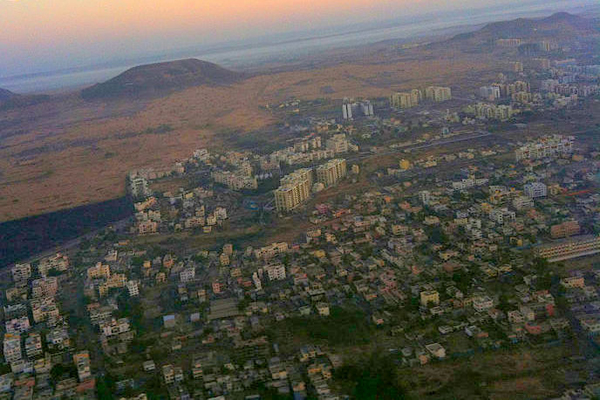 The city of Pune, India seen from above. Photo courtesy of Subhashish Panigrahi under a Creative Commons Attribution-Share Alike 3.0 Unported license.
