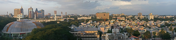 A panoramic view of Bangalore, India. Photo courtesy of Muhammad Mahdi Karim under the GNU Free Documentation License, Version 1.2.