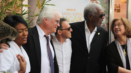 Left to right – Soundtrack artist Hanitrarivo Rasoanaivo, director David Douglas, writer/producer Drew Fellman, narrator Morgan Freeman and Patricia C. Wright greet the gathered crowd outside the California Science Center IMAX Theater in Los Angeles on March 29, 2014.
