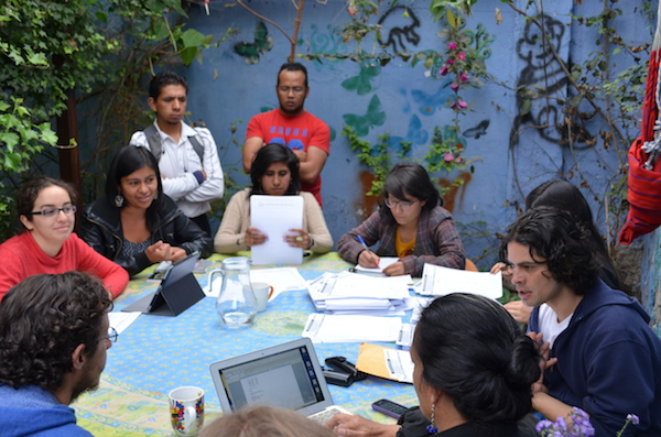 YASunidos activists organizing the collection of signatures. Photo by Robin Llewellyn.