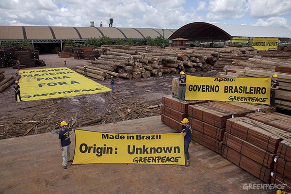 Greenpeace Brazil activists protest at the Pampa sawmill nearby the Para state capital, Belem