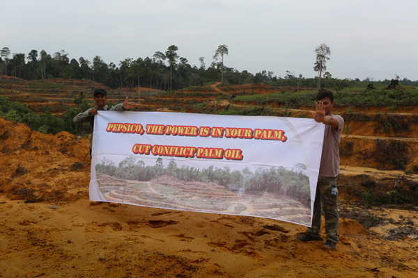 Activists staging a PepsiCo protest at an illegal oil palm plantation in Sumatra in May 2014