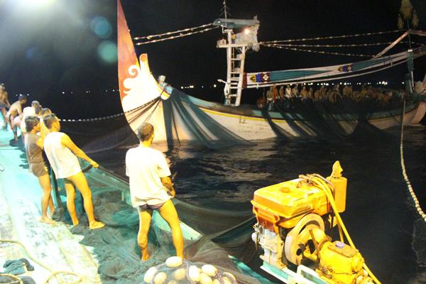 I pescherecci in coppia nello Stretto di Bali di solito vengono gestiti da ciurme di 55 uomini. Solo dopo che ognuno di loro avrà ricevuto una borsa in plastica del bottino di pesca il resto del pesce verrà venduto ai conservifici. Foto di Melati Kaye (2014).