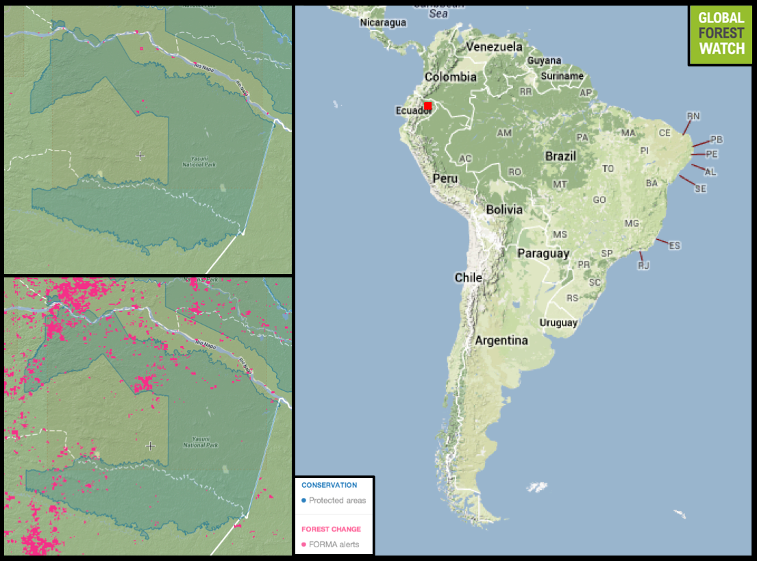 Deforestation Ramping Up In Yasuni As Ecuador Sets To Open Up - Map argentina national parks