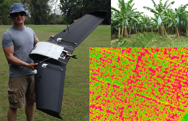 Machovina and one of his drones, which he flew over banana plantations to study stressors and productivity. Photo by Brian Machovina.