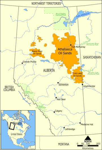 Range and extent of Alberta's tar sands.