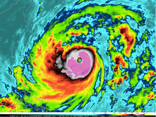 Color-enhanced infrared satellite image of Typhoon Usagi in 2013 as it moved northwest toward Hong Kong while explosively intensifying to a Category-5 storm. Photo by the NOAA Cooperative Institute for Meteorological Satellite Studies