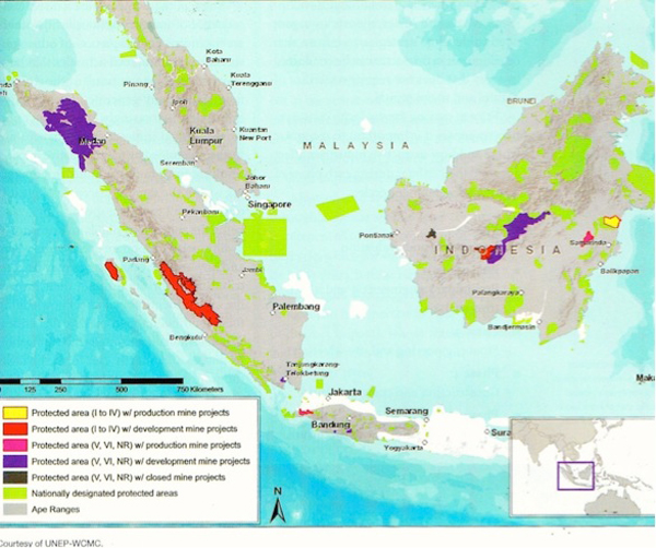 The bright yellow area on the far right of the map is the Kutai National Park, the only IUCN Category I-IV protected area in Indonesia with active mining. Map courtesy of the Arcus Foundation.
