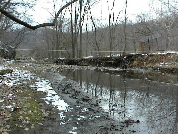 Nine Mile Run prior to restoration. Photo credit: Biohabitats Inc.