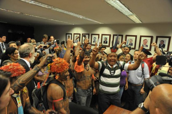 Mundurukú chiefs and warriors protest in Brazil's lower house of Congress Tuesday Dec. 10, 2013. Photo courtesy of Luis Macedo/Acerv