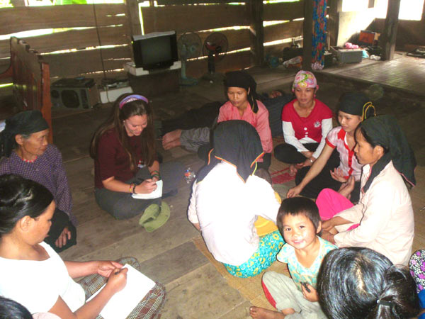 Corrin LaCombe leading a discussion group with local women in Khau Ca, Vietnam. Source: Corrin LaCombe