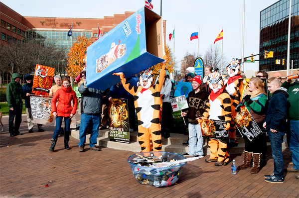 A rally held in November 2013 at Kellogg's HQ in Battle Creek, Michigan calling on Kellogg's to end their partnership with Wilmar if they didn't adopt a No-Deforestation policy. Photo courtesy of the Forest Heroes campaign.