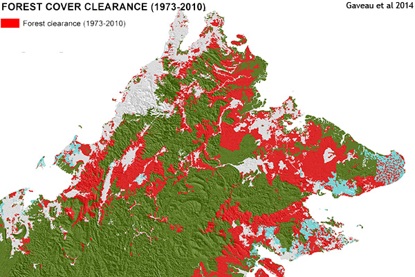 Map of forest clearance in Sabah