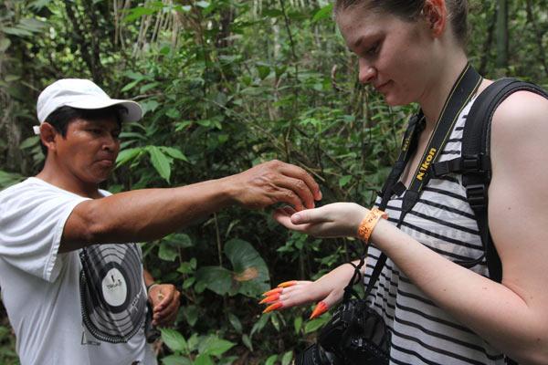 Guide Baldemar Mazaro gives visitor fake