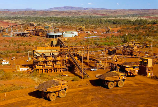 The ore processing area, where it is crushed to the desired size, also creates considerable disturbance to the land. Courtesy Rio Tinto.