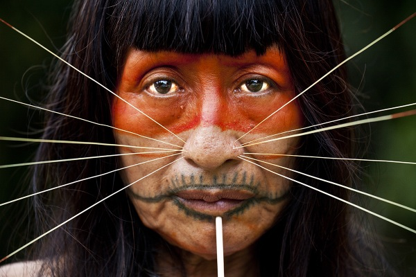 Portrait of a Matsés woman