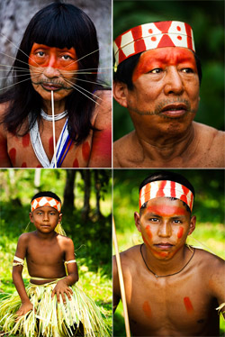 Portraits of Matsés tribe members in the Amazon rainforest