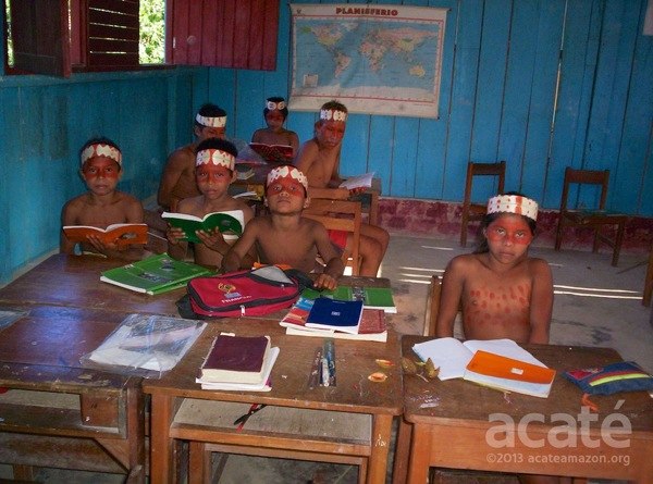 Matsés students dressed up in traditional garb