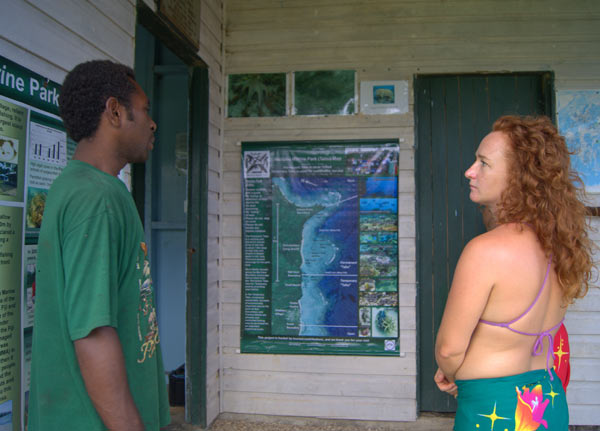Waitabu resident Ba Laladidi explains the history of the Waitabu Marine Park on Taveuni. Here tourists can pay to homestay and snorkel in a protected area of reef. Photo by Amy West.