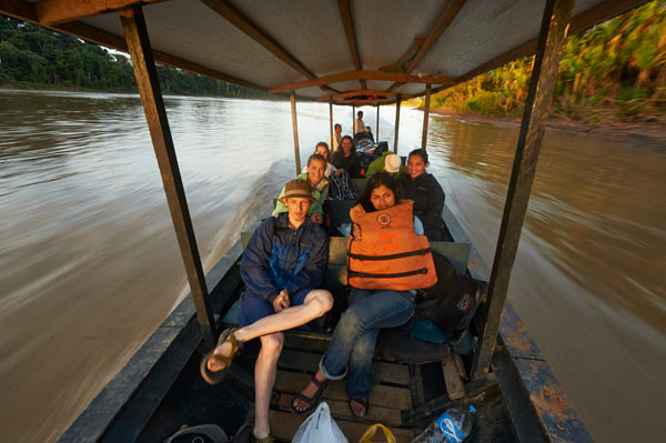 Traveling to CICRA up the Madre de Dios River in southeastern Peru with research assistants and principal investigators. Photo credit: Ishaan Raghunandan