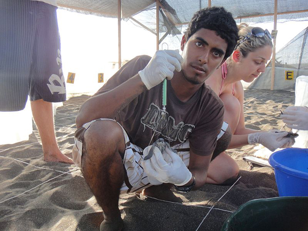 Environmentalist Jairo Mora Sandoval on the beach with fellow WIDECAST volunteers. Photo by: Christine Figgener.