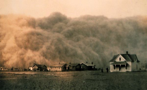 Dust storm in Texas during the Dust Bowl of the 1930s. New research finds that the American West is set to face a megadrought, worst than the Dust Bowl, in the next century due to climate change. Photo by: Public Domain.