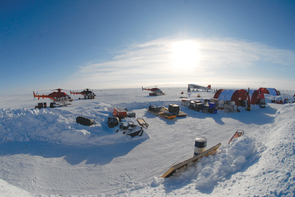 This Canadian base camp is located off the coast of Borden Island in the High Arctic. Canada and the five coastal Arctic nations are redrawing the map of the polar world, with claims to territory that currently belong to one.  Photo by: Edward Struzik.