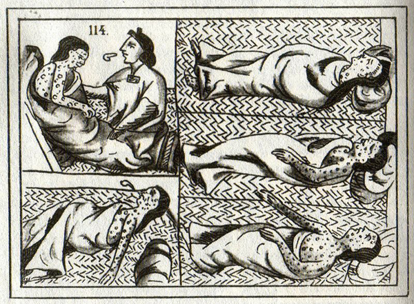 Aztec drawing showing smallpox victims after first contact with Europeans in the 16th Century. Estimates vary but many scholar believe disease wiped out around 95 percent of the pre-Columbian population after the Europeans arrived.