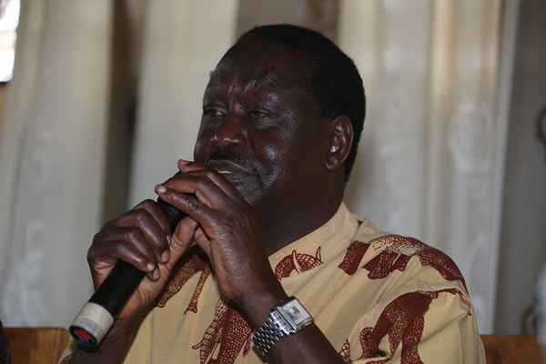 Raila Odinga-Former Kenya's Prime Minister and leader of the opposition Coalition for Reforms and Democracy (CORD).
