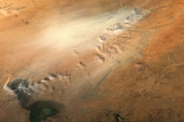 Dust storm in the Bodélé Depression. From the Moderate Resolution Imaging Spectroradiometer (MODIS) on NASA's Aqua satellite. Photo by: NASA.