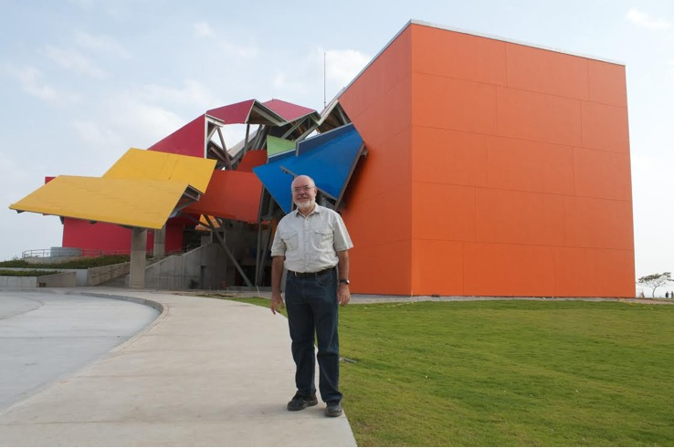 Photograph of George Angehr outside of Biomuseo in Panama City, Panama.  Photo by: Brian Gratwicke.