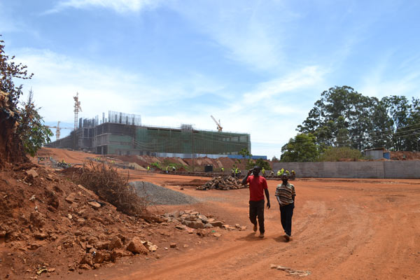 Construction of the Two Rivers project that is very close to River Ruaka at the edge of Karura Forest. The project includes a bridge over the river. Photo credit: Protus Onyango.