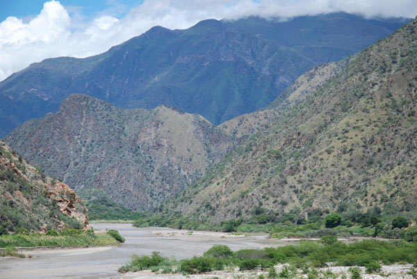 'The Marañón River in Peru where the government is proposing more than 20 dams on the main trunk.' . Photo credit: David Hill
