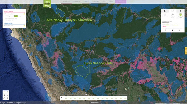 Global Forest Watch map showing forest loss between 2001 and 2013 in Peru's Alto Nanay Pintuyacu Chambira conservation area and Alto Purus National Park