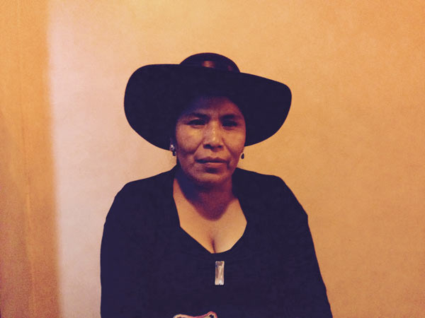 Toribia Lero, an indigenous leader from the faction of the indigenous organization CONAMAQ (National Council of Ayllus and Markas of Qullasuyu) that is not recognized by the government sits for an interview. The Danish NGO Ibis's funding of this organizations is likely one of the reasons it was expelled from the country. Photo credit: Alexandria Ellerbeck.