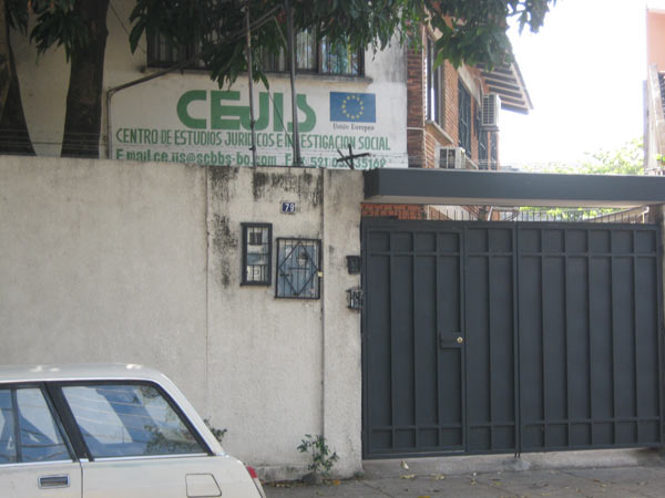 The CEJIS office which was attacked by right wing vigilantes in 2008 for the group's backing of the Morales government. Since then, CEJIS criticism of Morales' environmental and other policies has resulted in the group's censure, and possibly government persecution. Photo in the public domain.