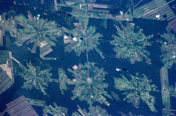 A photograph taken by International Space Station astronauts shows a pinwheel pattern of deforestation in the Bolivian tropical lowlands. Photo credit: NASA